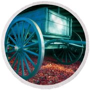 Blue Wagon Round Beach Towel