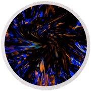Blue Wormhole Nebula Round Beach Towel