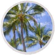 Blurry Palms Round Beach Towel