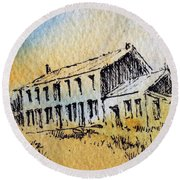 Boardinghouse Cable Ghost Town Montana Round Beach Towel