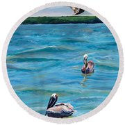 Boating In Fort Myers Round Beach Towel