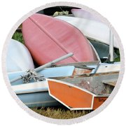 Boats Boats And More Boats Round Beach Towel