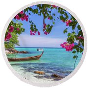 Boats, The Andaman Sea And Hills In Ko Phi Phi Don, Thailand Round Beach Towel