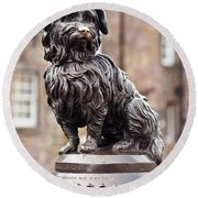 Bobby Statue, Edinburgh, Scotland Round Beach Towel
