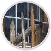 Bodie Picket Fence And Window Round Beach Towel