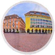 Bolzano Main Square Waltherplatz Panoramic View Round Beach Towel