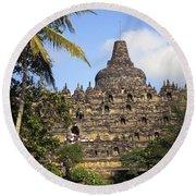 Borobudor Temple Round Beach Towel