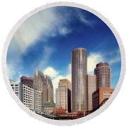Boston Skyline 1980s Round Beach Towel