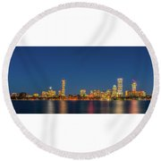 Boston Skyline Round Beach Towel