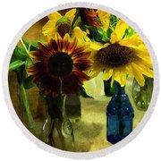 Bottled Sunshine  Round Beach Towel