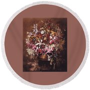 Bouquet Of Orchids Round Beach Towel