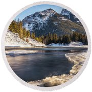 Bow River With Mountain View Banf National Park Round Beach Towel