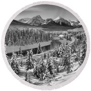 Bow Valley River View Black And White Round Beach Towel