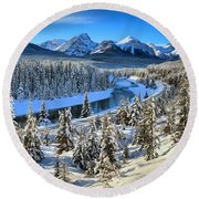 Bow Valley Winter View Round Beach Towel