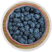 Bowl Of Fresh Blueberries Round Beach Towel
