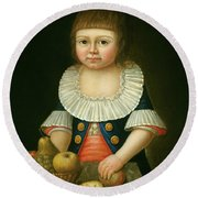 Boy With A Basket Of Fruit Round Beach Towel