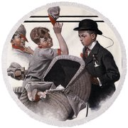 Boy With Baby Carriage Round Beach Towel