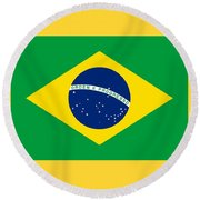 Brazil Flag Round Beach Towel