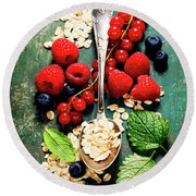 Breakfast With Oats And Berries Round Beach Towel