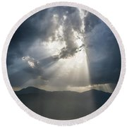 Breaking The Clouds Round Beach Towel