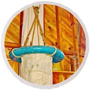 Breeches Buoy In Sleeping Bear Point Boathouse In Sleeping Bear Dunes National Lakeshore-michigan Round Beach Towel