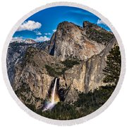 Bridalveil Falls Rainbow #2 Round Beach Towel