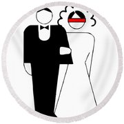 Bride And Groom Round Beach Towel
