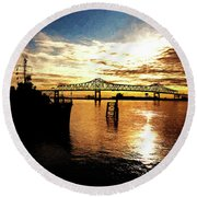 Bright Time On The River Round Beach Towel by Scott Pellegrin