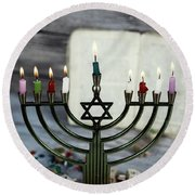 Brightly Glowing Hanukkah Menorah - Shallow Depth Of Field Round Beach Towel