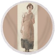 British Title A Country Girl In The Lake District Round Beach Towel