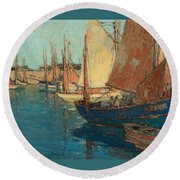 Brittany Boats Round Beach Towel