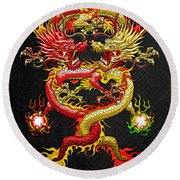 Brotherhood Of The Snake - The Red And The Yellow Dragons Round Beach Towel