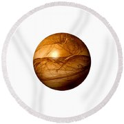 Brown Abstract Globe Round Beach Towel