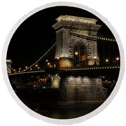 Budapest At Night. Round Beach Towel