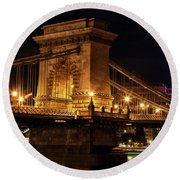 Budapest City By Night Round Beach Towel