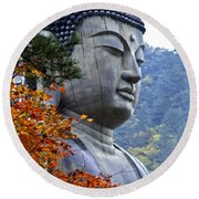Buddha In Autumn Round Beach Towel