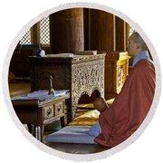 Buddhist Monk In Prayer Round Beach Towel