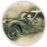Bugatti Type 57 - Atlantic 3 - 1934 - Automotive Art - Car Posters Round Beach Towel