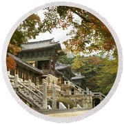 Bulguksa Buddhist Temple Round Beach Towel