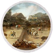 Bullfight In A Divided Ring Round Beach Towel