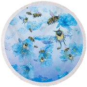Bumble Bees Round Beach Towel
