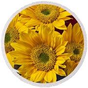 Bunch Of Sunflowers Round Beach Towel