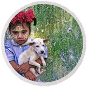 Burmese Girl With Puppy Round Beach Towel