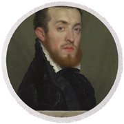 Bust Portrait Of A Young Man With An Inscription Round Beach Towel
