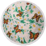 Butterflies And Daisies - 1 Round Beach Towel