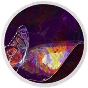 Butterfly Wings Insect Nature  Round Beach Towel