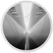 Cable-stayed Bridge Over River In Fog Round Beach Towel