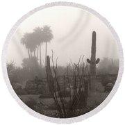Cactus Fog Round Beach Towel