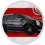 Cadillac Escalade With 3 D Badge  Round Beach Towel