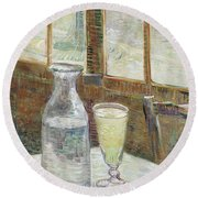 Cafe Table With Absinthe Round Beach Towel